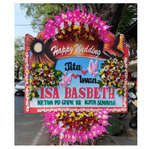 Bunga papan happy wedding murah