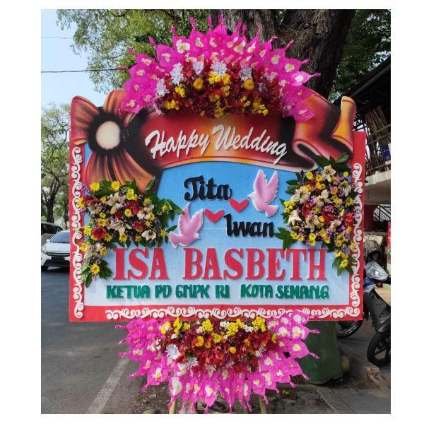 Bunga papan happy wedding murah